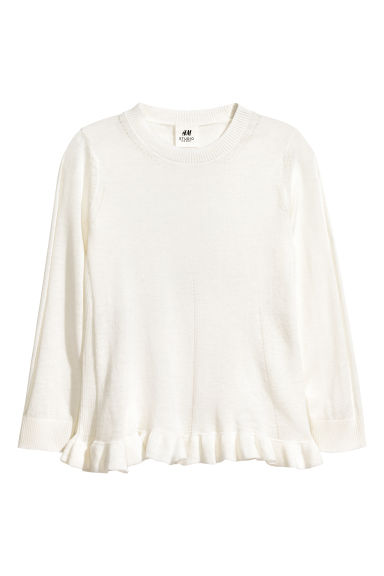 Top de punto fino - Blanco natural -  | H&M ES