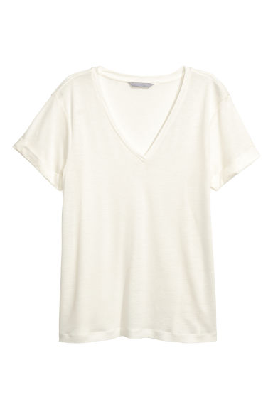 Lyocell jersey top - Natural white -  | H&M