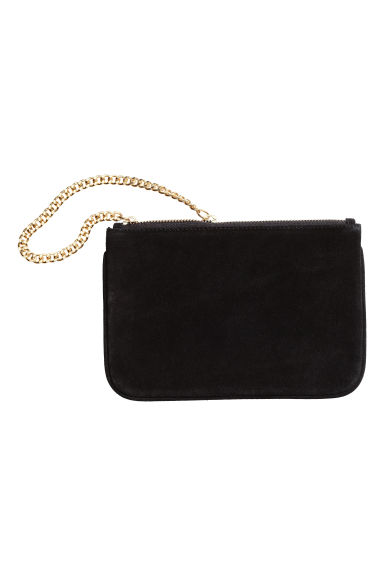 Suede pouch bag with a chain - Black -  | H&M