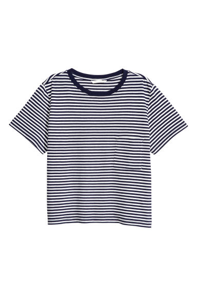 平紋上衣 - Dark blue/Striped -  | H&M