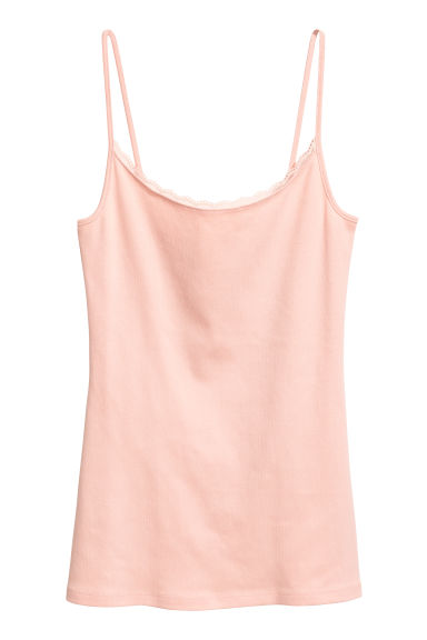 Strappy jersey top - Powder pink - Ladies | H&M IE