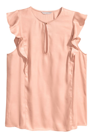 Sleeveless frilled blouse - Powder pink -  | H&M