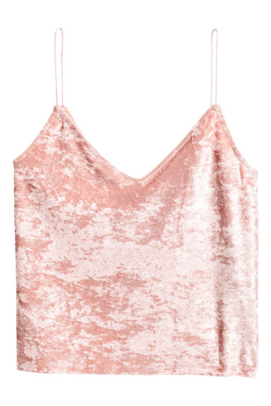 Crushed velvet strappy top - Pink -  | H&M
