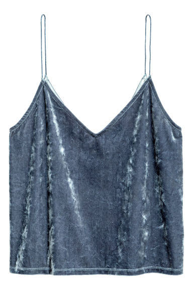 Crushed velvet strappy top - Blue -  | H&M