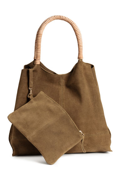 Suede shopper with clutch - Khaki brown - Ladies | H&M IE