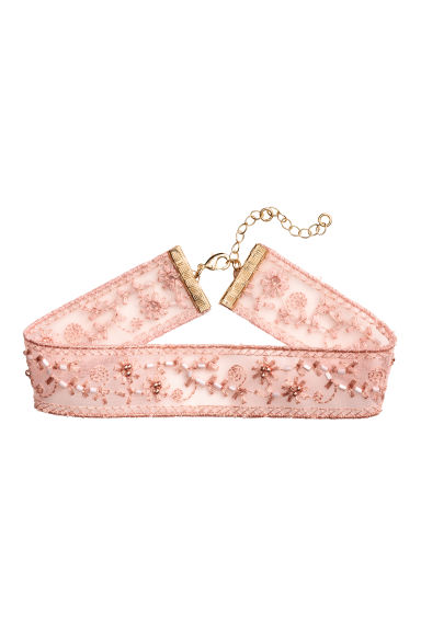 Embroidered choker - Light pink - Ladies | H&M