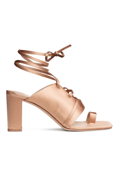 Sandals with lacing - Powder beige -  | H&M