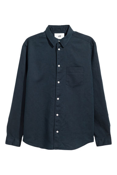 Camicia in lino - Blu scuro -  | H&M IT