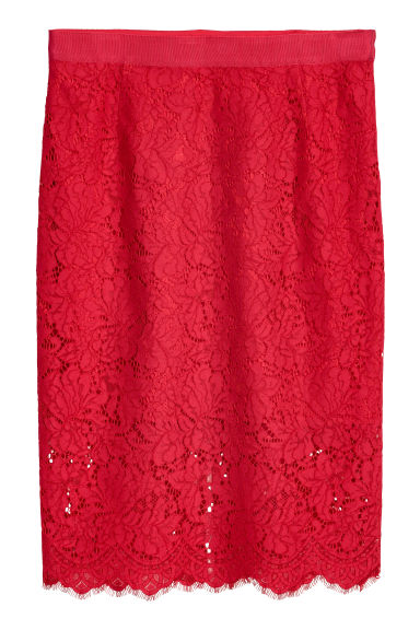 H&M+ Lace pencil skirt - Red - Ladies | H&M
