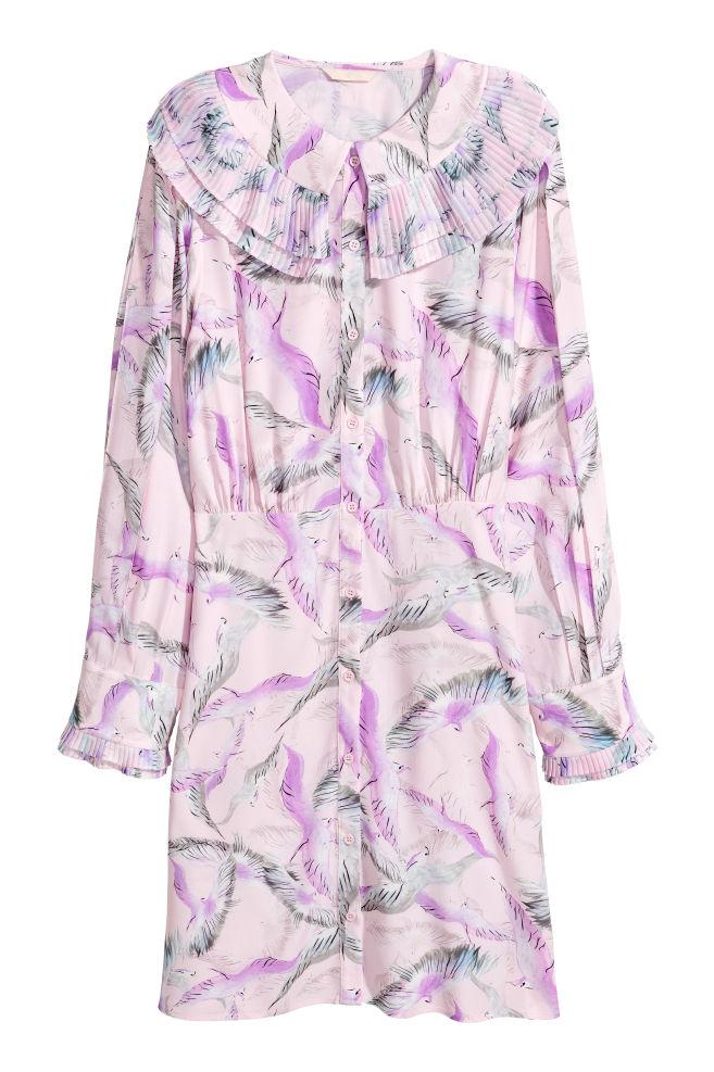 4c6b7456a28 Patterned shirt dress - Light pink Birds - Ladies