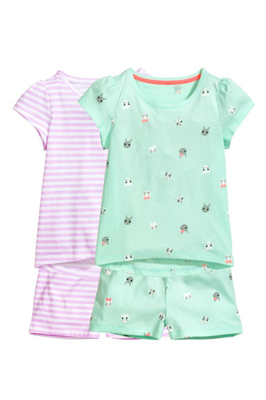 2-pack jersey pyjamas - Mint green - Kids | H&M