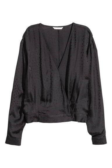 Wrapover blouse - Black/Patterned - Ladies | H&M CN