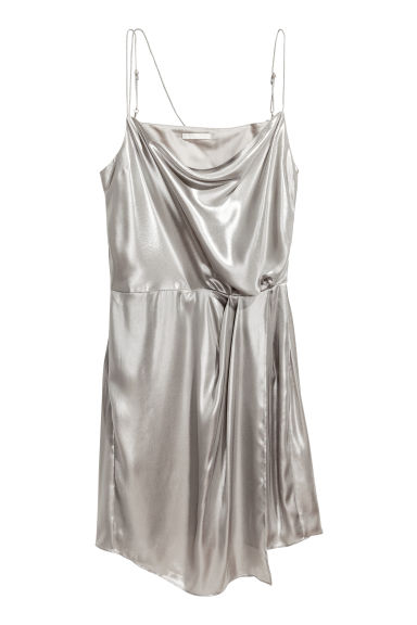 Shimmering metallic dress - Silver - Ladies | H&M CN