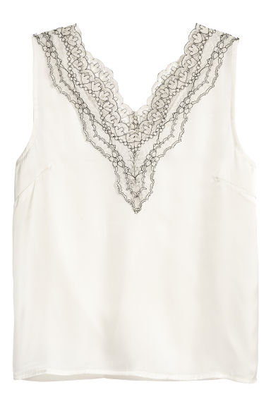 Satin top with lace - Natural white -  | H&M