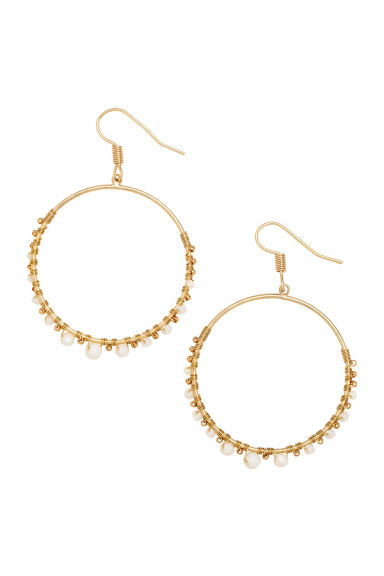 Round earrings - Gold/White - Ladies | H&M CN
