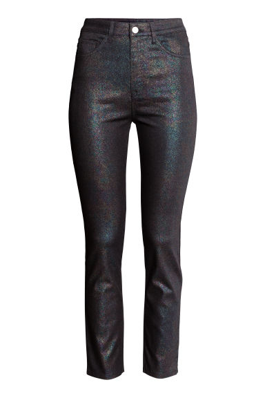 Glittery stretch trousers - Black/Multicolored - Ladies | H&M