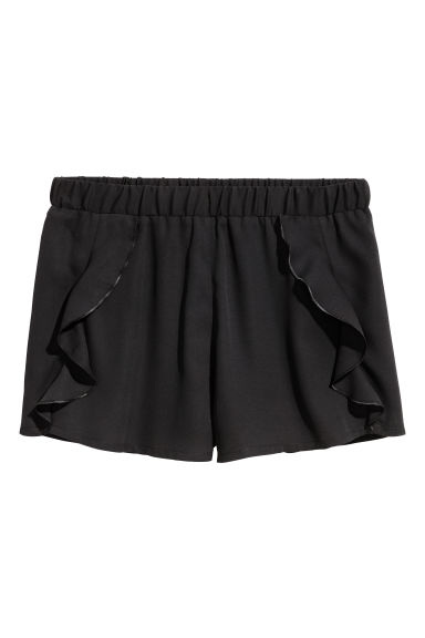 Shorts with frills - Black -  | H&M