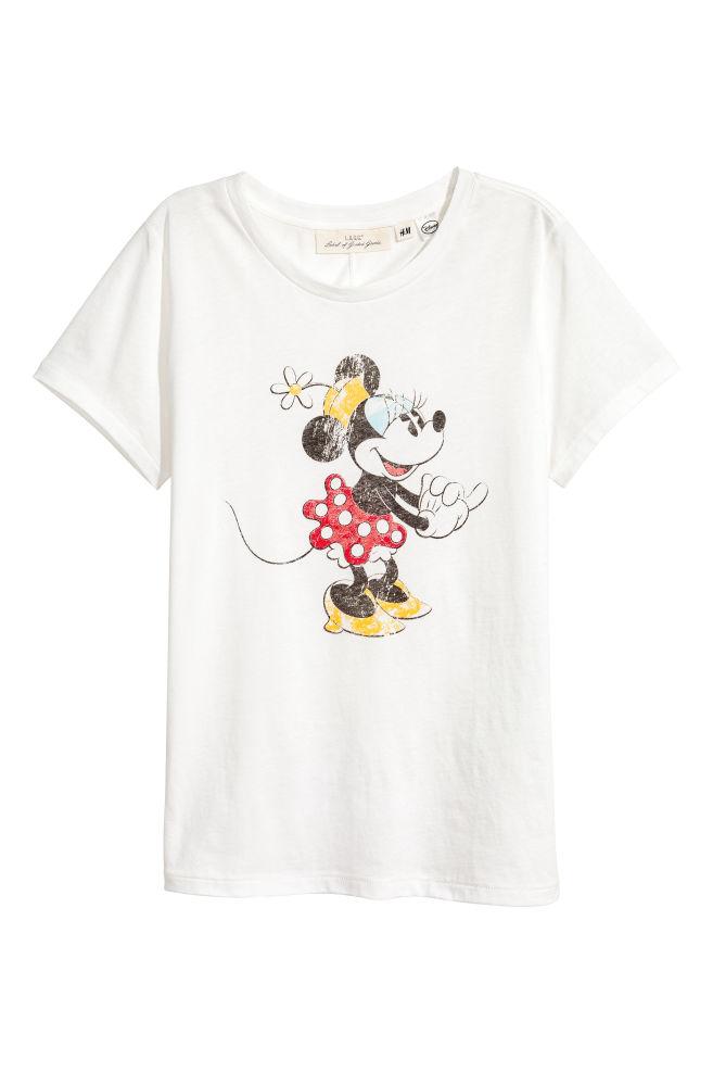 12f80493d Printed T-shirt - White/Minnie Mouse - Ladies | H&M ...