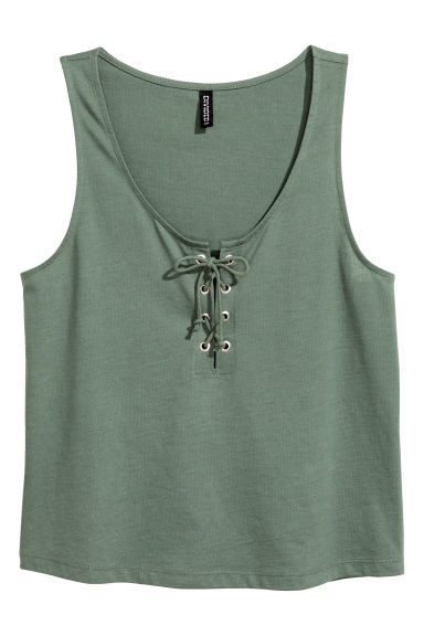 Vest top with lacing - Khaki green - Ladies | H&M