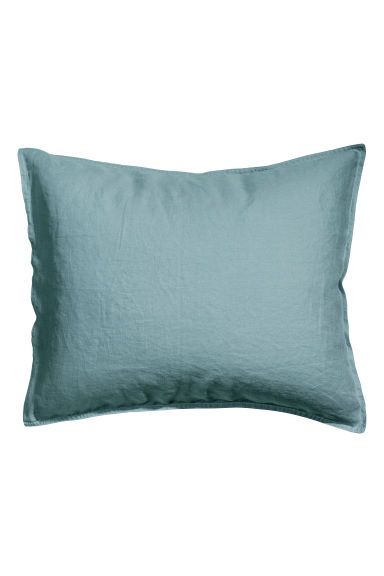 Washed linen pillowcase - Light petrol - Home All | H&M CN