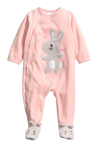 Velour pyjamas - Light pink/Rabbit -  | H&M