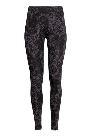Jersey leggings - Black/Grey patterned -  | H&M
