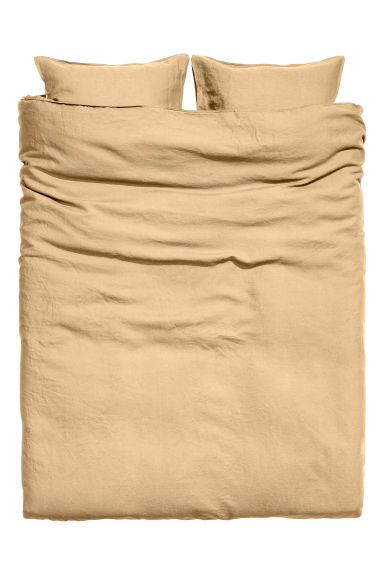 Washed linen duvet cover set - Light mustard yellow - Home All | H&M CN