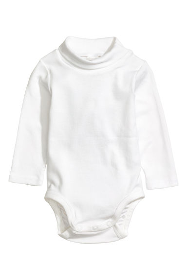 Polo-neck bodysuit - White - Kids | H&M