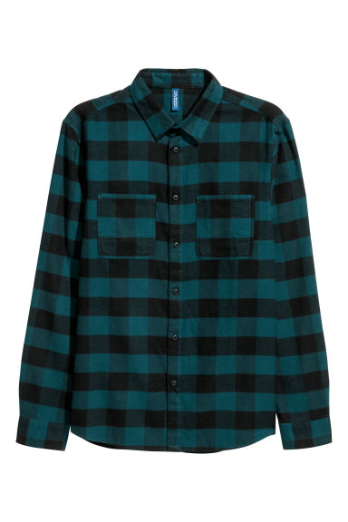 Flannel shirt - Petrol/Black checked - Men | H&M