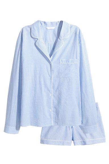 襯衫配短褲睡衣套裝 - Lt.blue/Narrow strip - Ladies | H&M