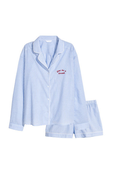 Pyjama shirt and shorts - Blue/White/Striped - Ladies | H&M IE