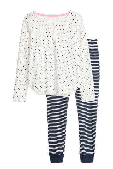 Jersey pyjamas - White/Dark blue -  | H&M CN