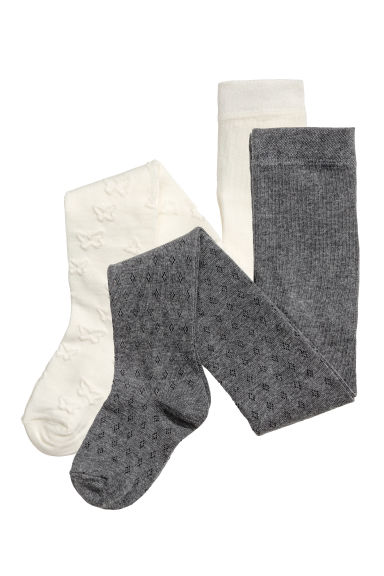 Collants à motif, lot de 2 - Gris foncé -  | H&M BE