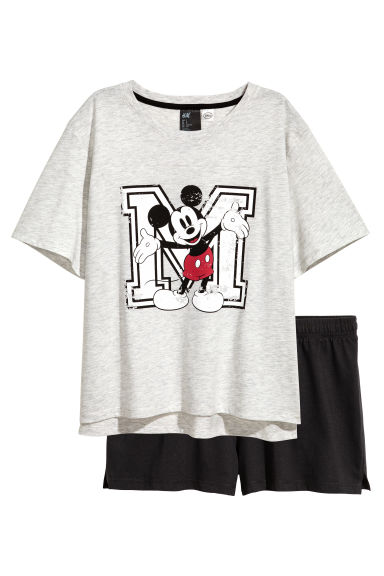 Pyjama top and shorts - Light grey/Mickey Mouse - Ladies | H&M CN