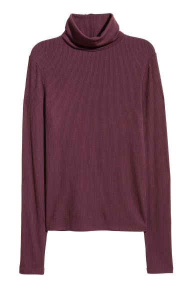 Ribbed polo-neck top - Burgundy - Ladies | H&M