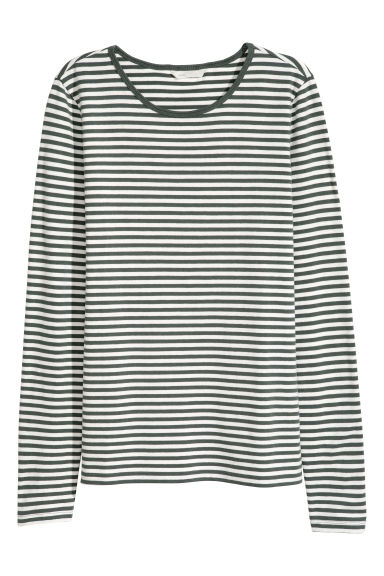 Long-sleeved jersey top - Green/Striped - Ladies | H&M GB