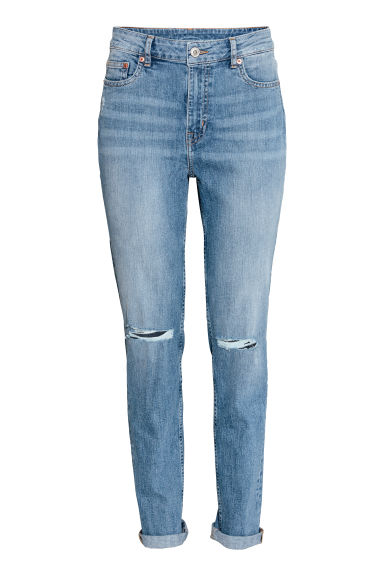 Boyfriend Slim Low Jeans - Niebieski denim - ONA | H&M PL