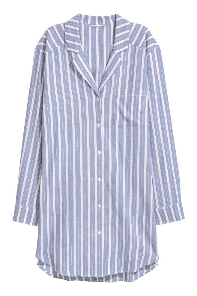 66414183 Nattskjorte i flanell - Blå/Rosa stripet - DAME   H&M ...