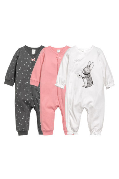 3-pack all-in-one pyjamas - White/Rabbit -  | H&M CN