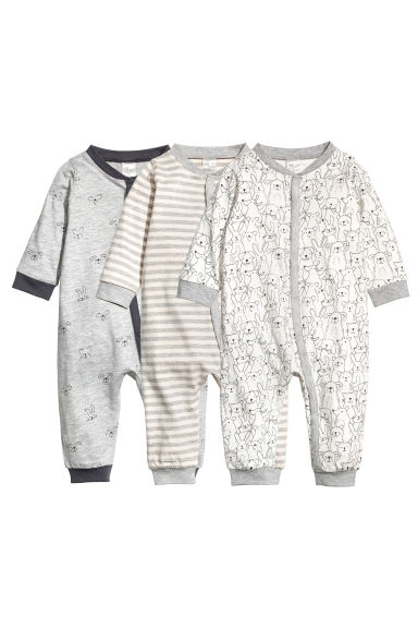 3-pack all-in-one pyjamas - Grey marl - Kids | H&M