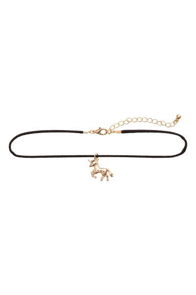 Choker with a pendant - Gold-coloured/Unicorn -  | H&M CN