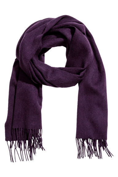 Wool scarf - Dark purple -  | H&M