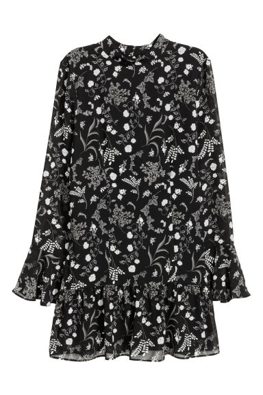 Flounced dress - Black/Floral - Ladies | H&M CN