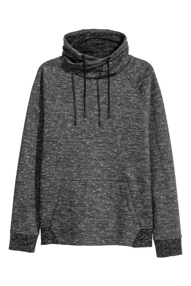 Funnel-collar sweatshirt - Black marl -  | H&M
