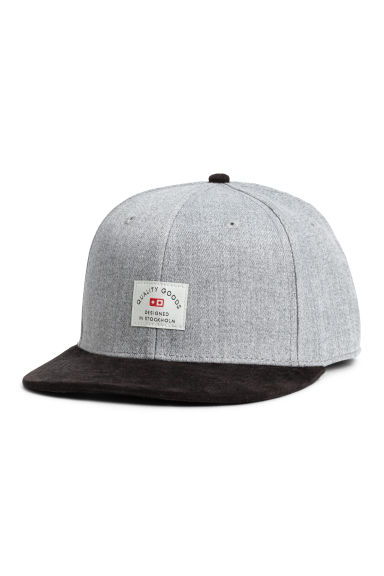 Cap with appliqué - Light grey marl -  | H&M CN