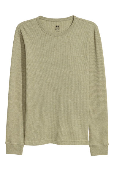 Waffled top - Light khaki green -  | H&M CN
