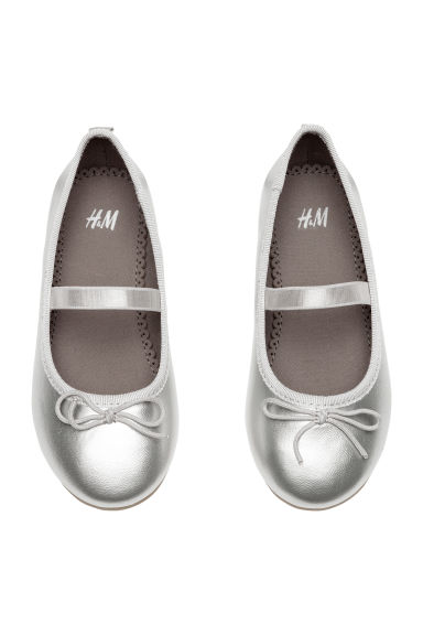 Ballet pumps with strap - Silver-coloured -  | H&M CN