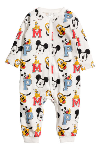 Printed all-in-one pyjamas - Natural white/Mickey Mouse - Kids | H&M GB