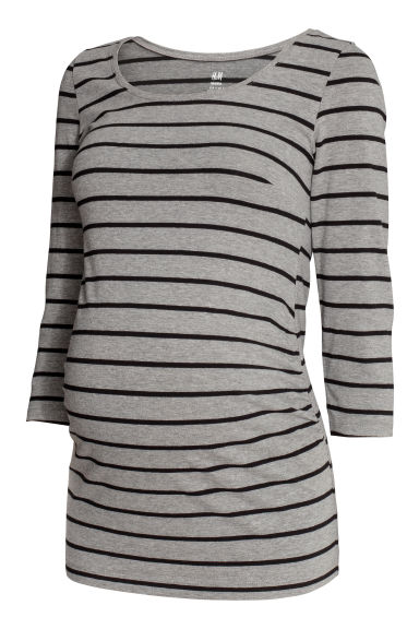 MAMA Jersey top - Grey/Black striped -  | H&M