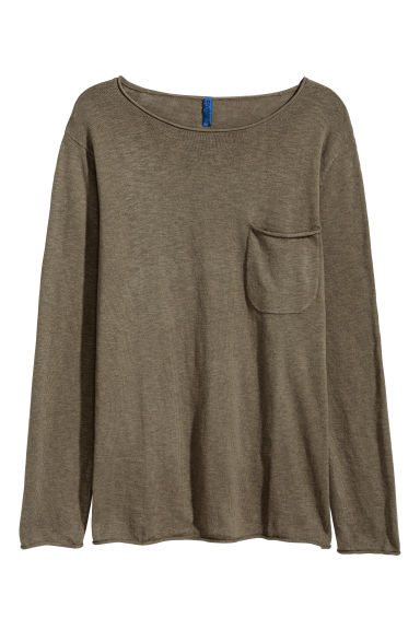Fine-knit jumper - Khaki green -  | H&M